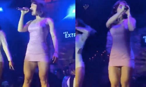 Miu Lê bị chê khi mặc váy ngắn diễn bar