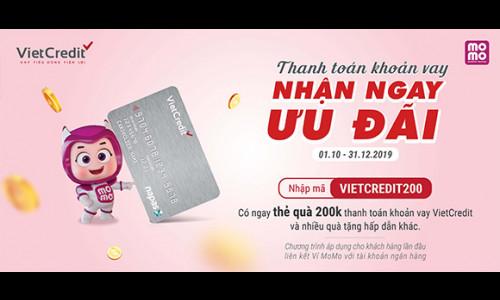 Cơ hội nhận hàng loạt quà tặng giá trị khi thanh toán thẻ vay VietCredit qua Momo
