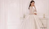 Hình ảnh đầu tiên về váy cưới 400 triệu đồng của Lê Hà